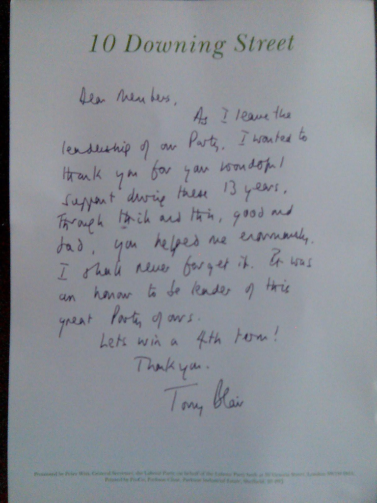 Farewell Letter from Tony Blair to party members Tony Blair