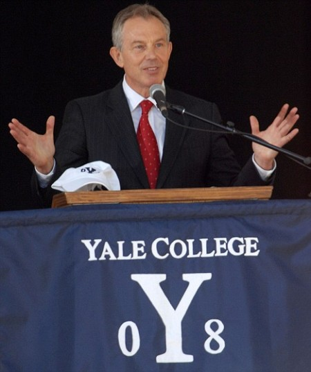 Tony Blair gives speech at Yale's Graduation in New Haven, Connecticut, USA.