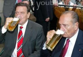 Schroeder and Chirac. Drinking to Blair's health, I'm sure