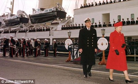 The Queen and Duke of Edinburgh leave the Royal Yacht Britannia for the last time in Portsmouth.