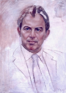 Tony Blair sketch by Jonathan Yeo, during 2001 election campaign